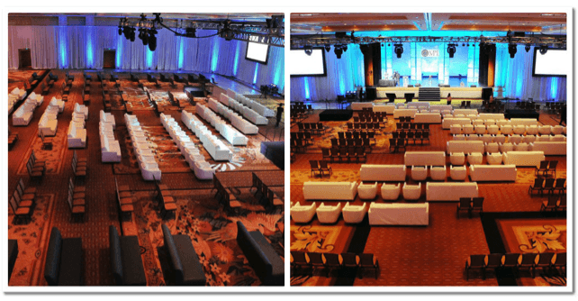 overhead view of conference hall showing different types of seating