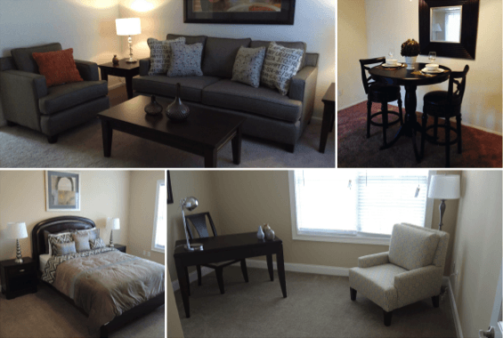 collage showing several rooms in a house decorated with home staging furniture