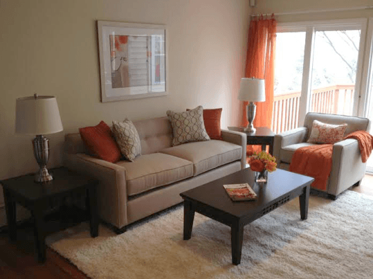 living room staged with rental furniture