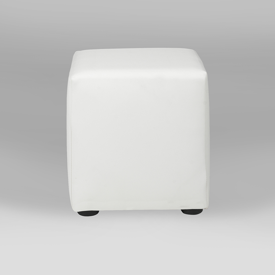 "home staging rental furniture  rent furniture for home staging  - white leather cube ottoman "" square"