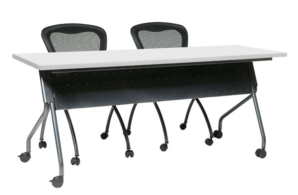 Tilt-Top 48-inch Folding Training Table - White