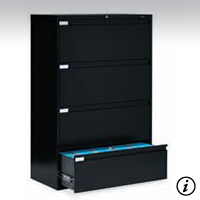 4 Drawer Black Lateral File