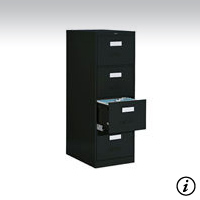 4 Drawer Black Vertical File