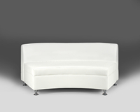 Continental Madras White Leather Curved Loveseat