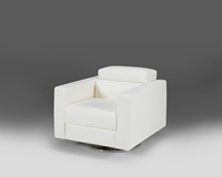 Madras White Leather Juliet Swivel Chair